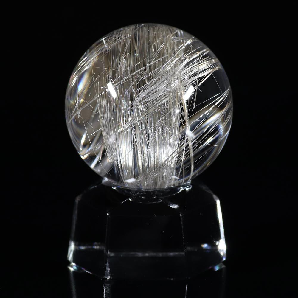 【超入手困難】【透明度抜群&理想の色味】タイチンシルバープラチナルチルクォーツ(キャッツアイ効果入り) 30mm玉(無穴)(型番spr1139)の画像