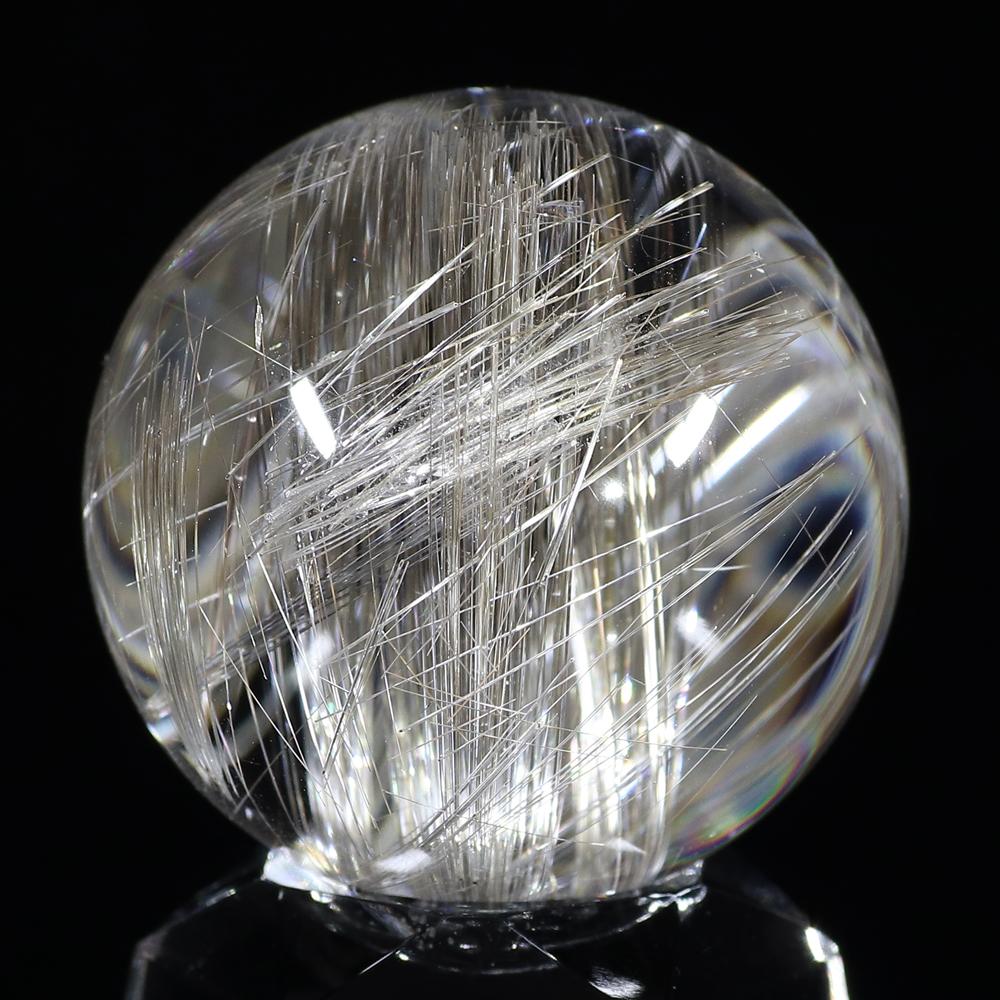 【超入手困難】【透明度抜群&理想の色味】タイチンシルバープラチナルチルクォーツ(キャッツアイ効果入り) 30mm玉(無穴)(型番spr1139)の画像2